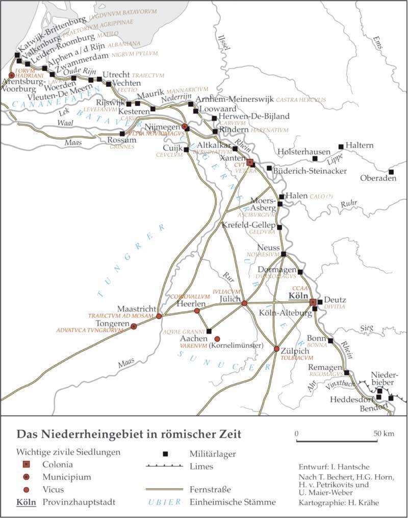 Karte Niederrhein.Antikefan Der Römische Niederrhein